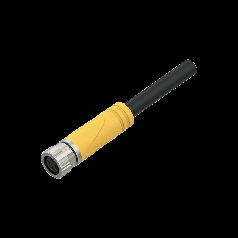 SAF3-2/S13【M8 3芯 A型、母头、预铸式、360度屏蔽抗干扰型,拖链PUR】